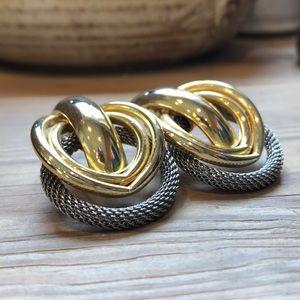 Vintage | Gold-tone Statement Pierced Earrings
